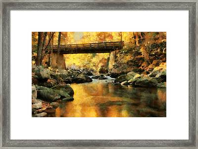 Golden Reflection Autumn Bridge Framed Print by Dan Sproul