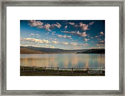 Golden Reflection On Lake Cascade Framed Print by Robert Bales