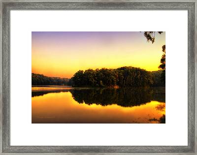 Golden Reflections On A Lake Framed Print
