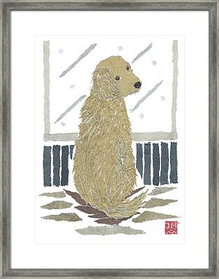 Golden Retriever Art Hand-torn Newspaper Collage Art Framed Print by Keiko Suzuki Bless Hue