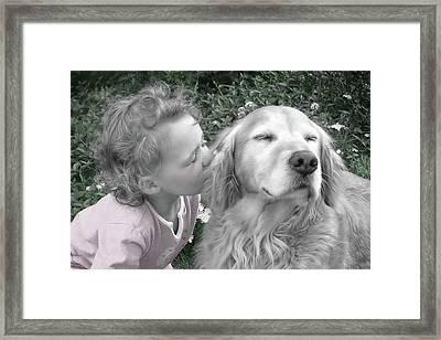 Golden Retriever Dog Kiss From A Little Girl Framed Print by Jennie Marie Schell