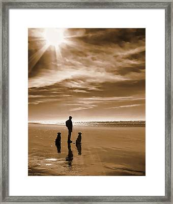 Golden Retriever Dogs End Of The Day Sepia Framed Print by Jennie Marie Schell