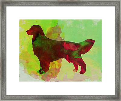 Golden Retriever Watercolor Framed Print by Naxart Studio