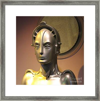Framed Print featuring the photograph Golden Robot Lady Closeup by Cynthia Snyder