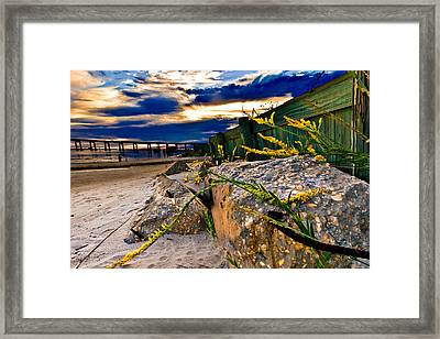 Framed Print featuring the photograph Golden Rod Sunset Wooden Fence Yellow Wildflowers Blue Green Art by Eszra Tanner
