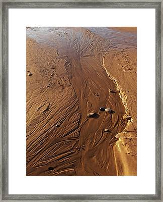 Framed Print featuring the photograph Golden Sand Streams by Kathi Mirto