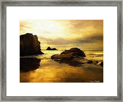 Framed Print featuring the painting Golden Sands by Wayne Pascall