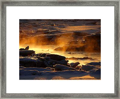 Golden Sea Smoke At Sunrise Framed Print