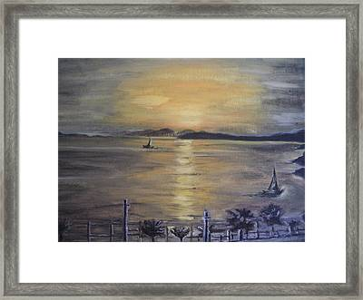 Golden Sea View Framed Print