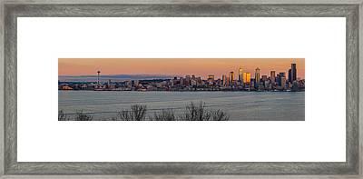 Golden Seattle Skyline Sunset Framed Print by Mike Reid