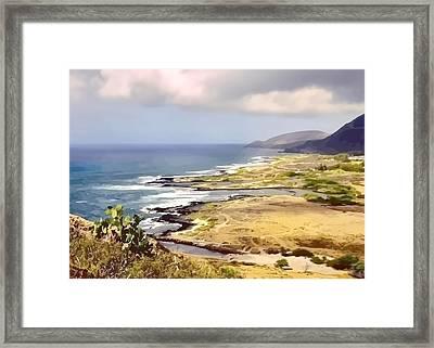 Golden Shoreline Framed Print by Elaine Plesser