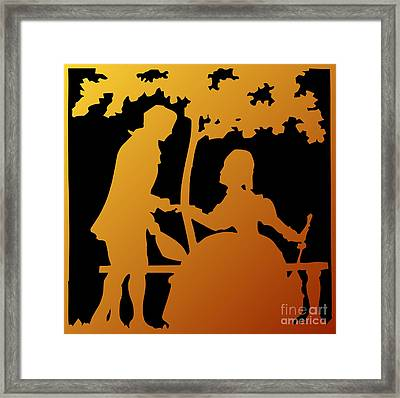 Golden Silhouette Garden Proposal Will You Marry Me Framed Print by Rose Santuci-Sofranko