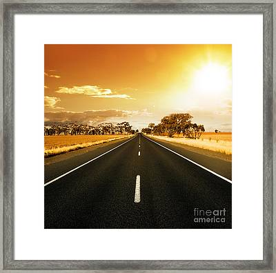 Golden Sky And Road Framed Print by Boon Mee
