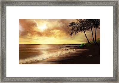 Golden Sky Over Tropical Beach Framed Print