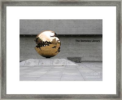 Framed Print featuring the photograph Golden Sphere By The Berkeley Library by Menega Sabidussi
