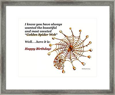 Golden Spider Web Birthday Card Framed Print