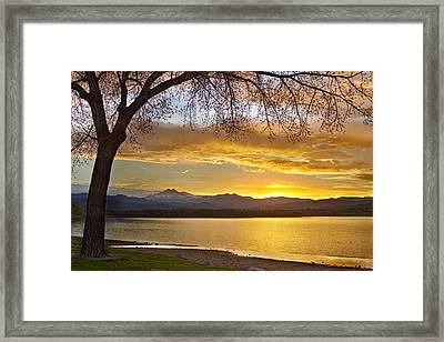 Golden Spring Time Twin Peaks Sunset View Framed Print