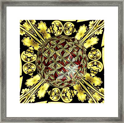 Golden Stained Glass Kaleidoscope Under Glass Framed Print by Rose Santuci-Sofranko