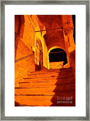 Golden Stairs Framed Print by Ramona Matei