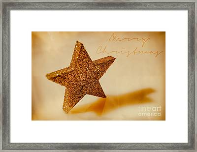 Golden Star Merry Christmas Framed Print by Sabine Jacobs
