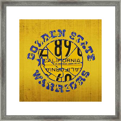 Golden State Warriors Basketball Team Retro Logo Vintage Recycled California License Plate Art Framed Print by Design Turnpike