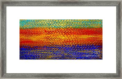 Golden Sunrise - Abstract Relief Painting Original Metallic Gold Textured Modern Contemporary Art Framed Print by Emma Lambert