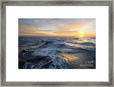 Golden Sunrise And Waves Framed Print