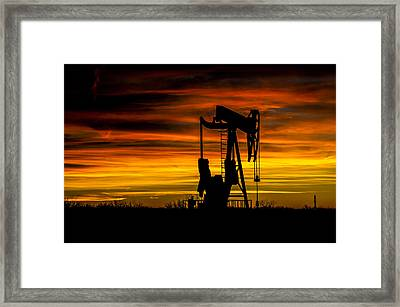 Golden Sunrise And West Texas Black Gold Framed Print