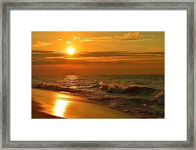 Golden Sunrise Colors With Waves And Horizon Clouds On Navarre Beach Framed Print