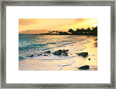 Golden Sunrise On Sapphire Beach Framed Print