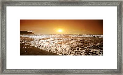 Ocean Framed Print featuring the photograph Golden Sunset by Aaron Berg