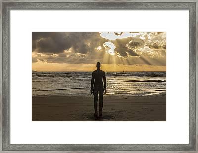 Golden Sunset At Crosby Beach Framed Print by Paul Madden