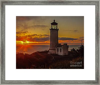 Golden Sunset At North Head Lighthouse Framed Print by Robert Bales