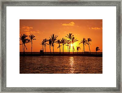 Golden Sunset In An Orange Sky Framed Print by Scott Mead