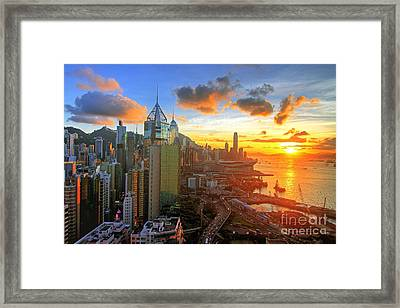 Golden Sunset In Hong Kong Framed Print by Lars Ruecker