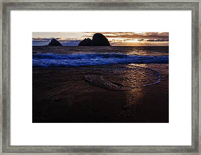 Golden Sunset Oregon Coast Usa Framed Print by Vishwanath Bhat