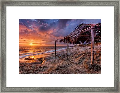 Golden Sunset The Surf Shack Framed Print by Peter Tellone