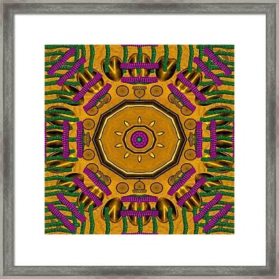 Golden Sunshine Metal Mandala Framed Print