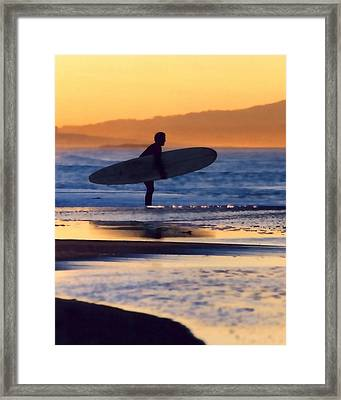 Golden Surfer Framed Print by Art Block Collections