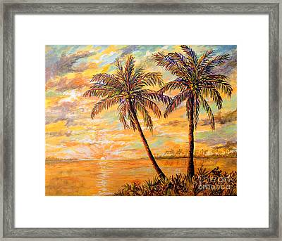 Framed Print featuring the painting Golden Tropics by Lou Ann Bagnall