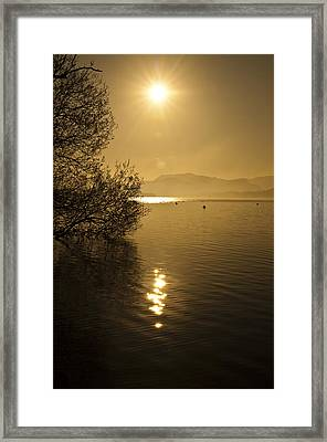 Golden Ullswater Evening Framed Print by Meirion Matthias
