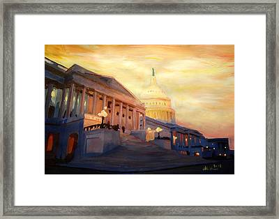 Golden United States Capitol In Washington D.c. Framed Print by M Bleichner