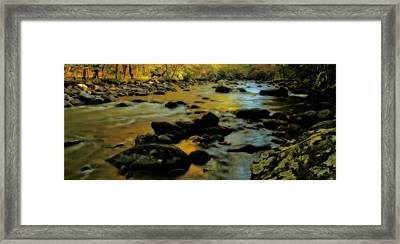 Golden View Of The Little River In Autumn Framed Print by Dan Sproul
