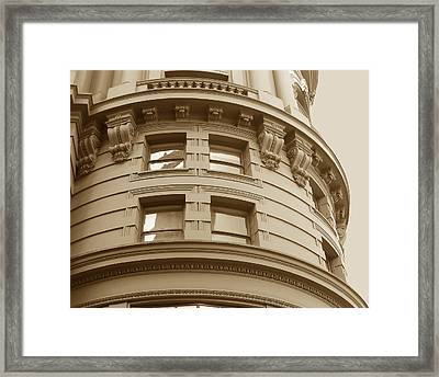 Golden Vintage Building Framed Print by Connie Fox