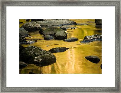 Framed Print featuring the photograph Golden Water by Jay Stockhaus