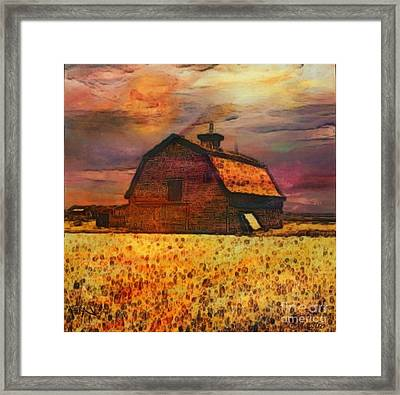 Golden Wheat Sunset Barn Framed Print