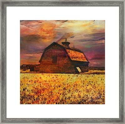 Golden Wheat Sunset Barn Framed Print by PainterArtist FIN