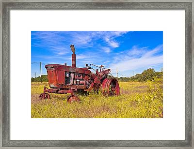 Golden Years - Rust Red Tractor In Rural Georgia Framed Print by Mark E Tisdale