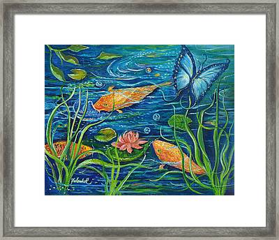 Goldfish And Butterfly Framed Print