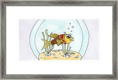 Goldfish In Bowl Framed Print by Dan  Orapello